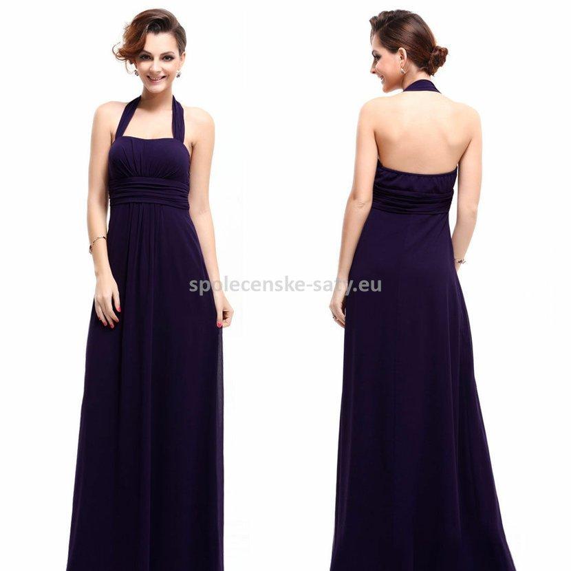 Fialové dlouhé společenské šaty za krk i pro těhotné 44 XXL ... 64347d9941