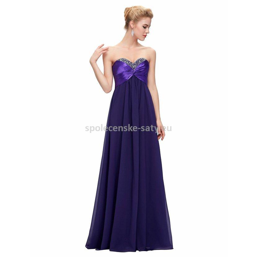 a620583b9 Fialové dlouhé plesové šaty korzetové bez ramínek 34 XS ...