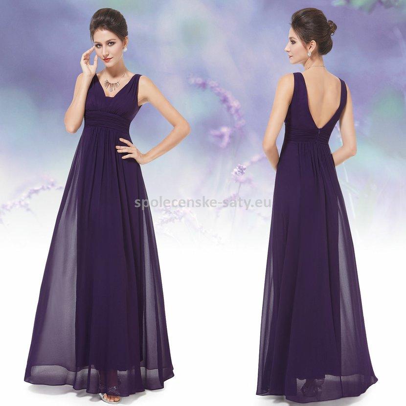 512838825a4 Fialové dlouhé šifonové šaty hrubší ramínka na svatbu či ples 42 XL ...