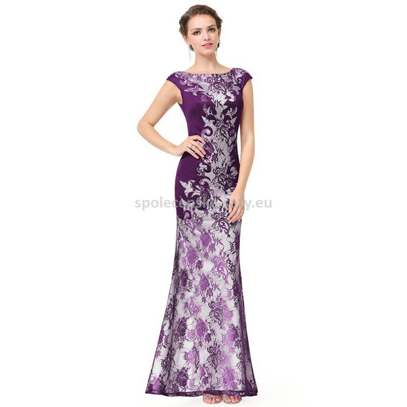 fb15a2524e0 Fialové dlouhé luxusní šaty s rukávkem na svatbu ples do opery 36 S ...