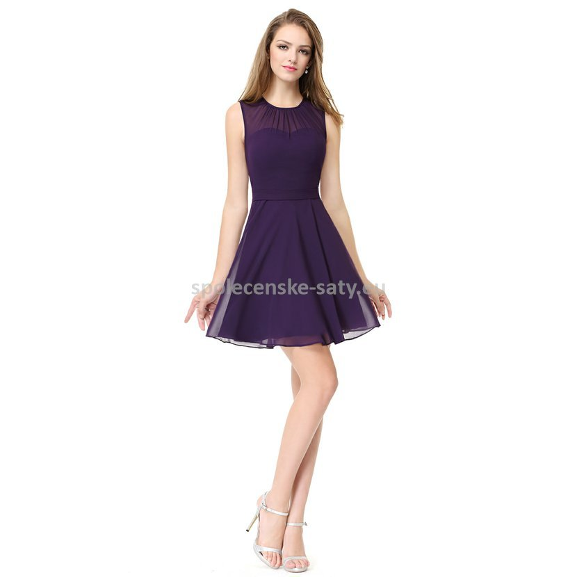 8dc6bf8c0bfe Fialové krátké společenské šaty na promoce do divadla pro plnoštíhlé 46 XXXL