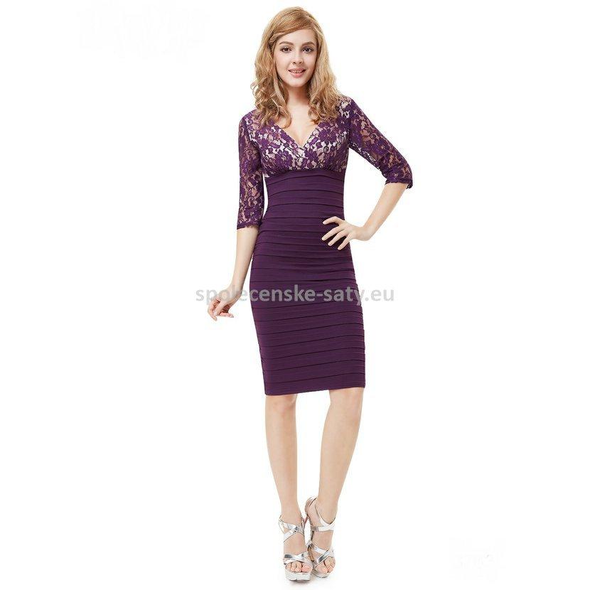 a1c8a213d4f1 Fialové krátké pouzdrové šaty koktejlky s 3 4 rukávem z krajky 34 XS ...