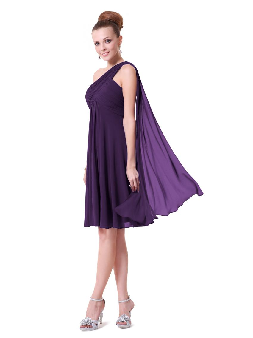 6c779262319 Fialové tmavě krátké společenské šaty na jedno rameno s šálem i pro těhulky  34 XS