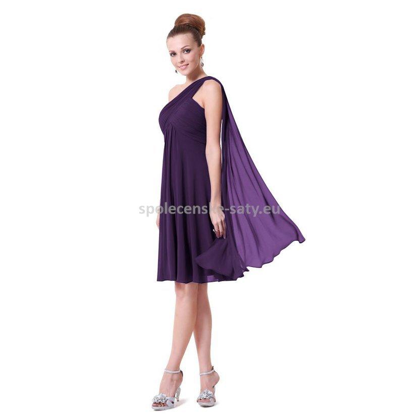 Fialové tmavě krátké společenské šaty na jedno rameno s šálem i pro těhulky  34 XS 6248212f75
