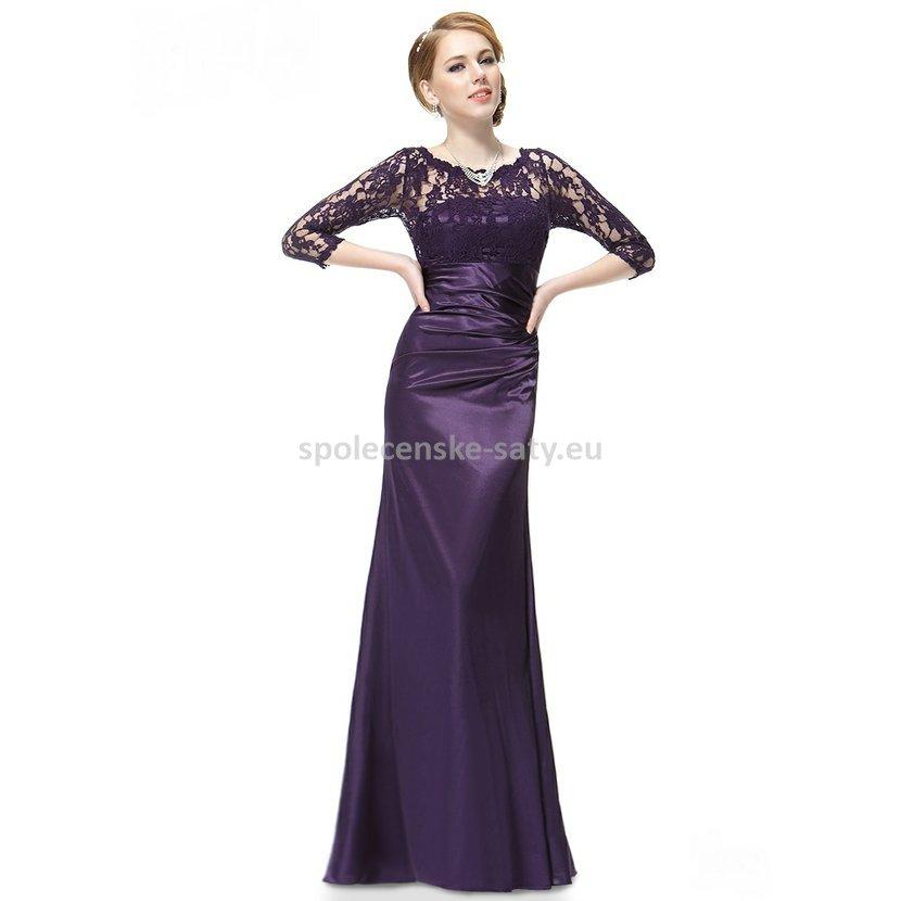 cdd298d3d0e Fialové dlouhé pouzdrové šaty s 3 4 krajkovým rukávem elegantní 42 ...