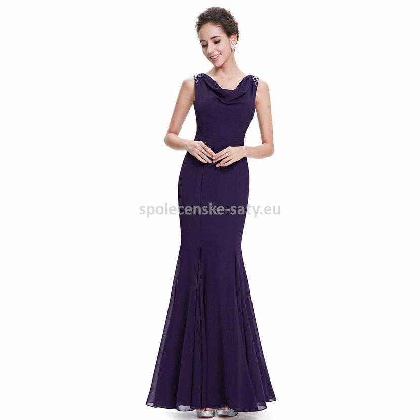 Fialové dlouhé pouzdrové společenské šaty na ples či svatbu 42 XL ... 2409cdd55e