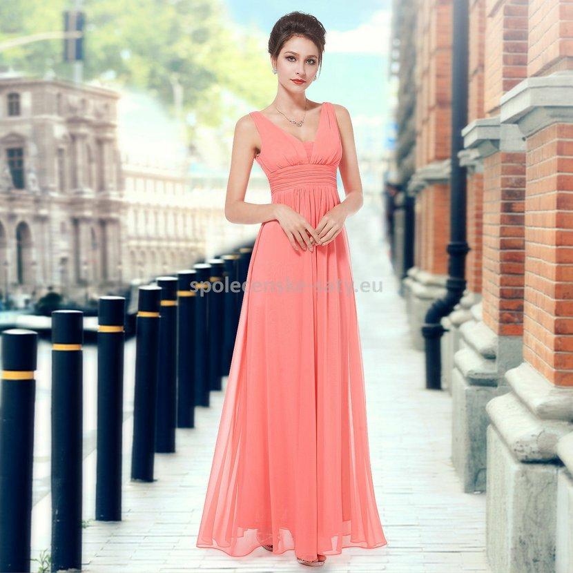 Korálové dlouhé šifonové šaty hrubší ramínka na svatbu či ples 34 XS ... e88bd45243e