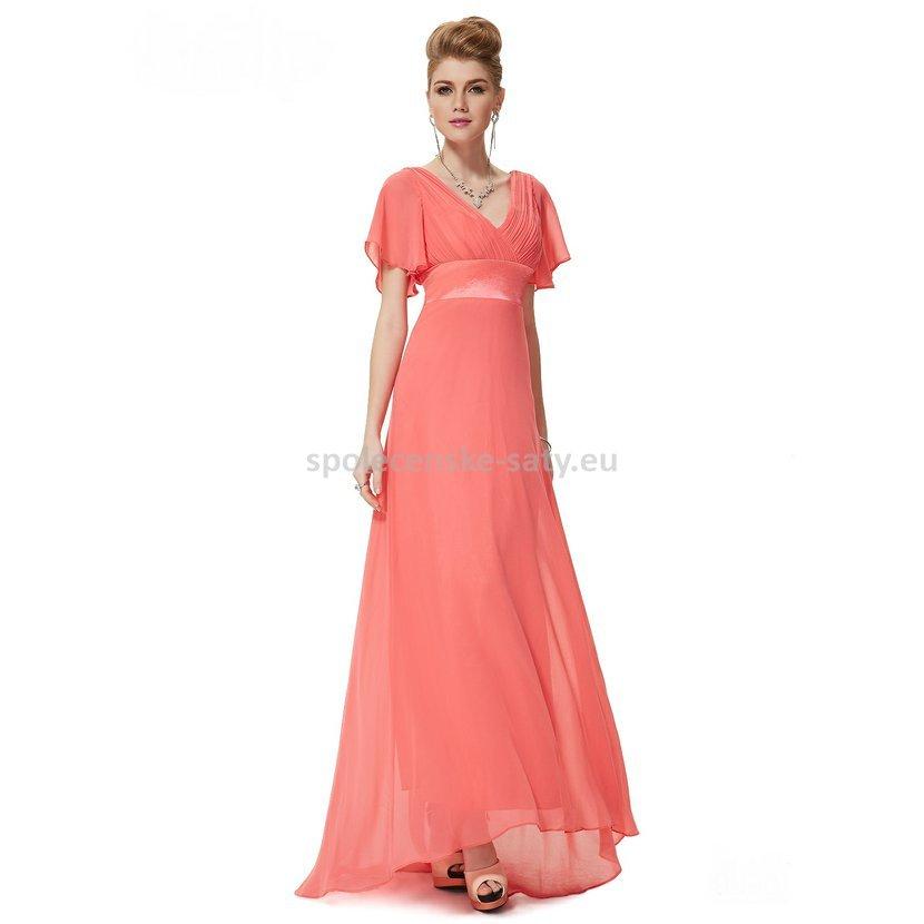 Korálové dlouhé luxusní šaty společenské svatební plesové s rukávem 34 XS 160e1e08afa