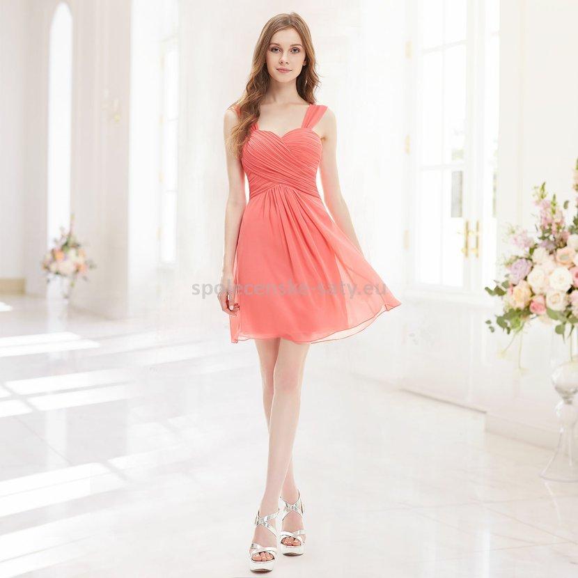 5c6b03ef0224 Korálové krátké společenské šaty na svatbu do tanečních 42 XL ...