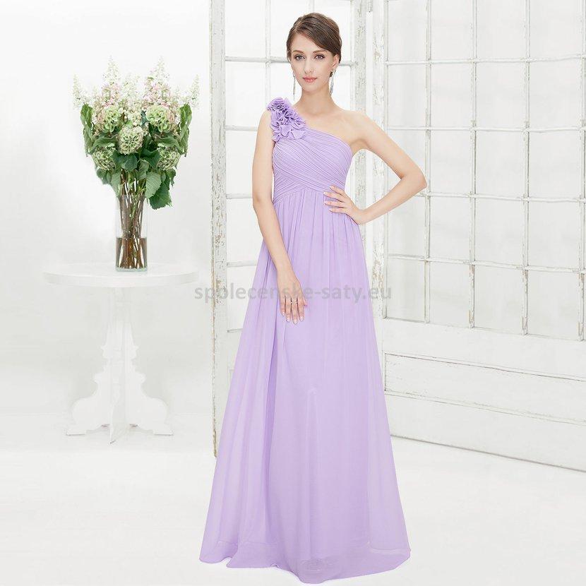 Levandulové dlouhé společenské šaty na jedno rameno 36 S 992110fefe