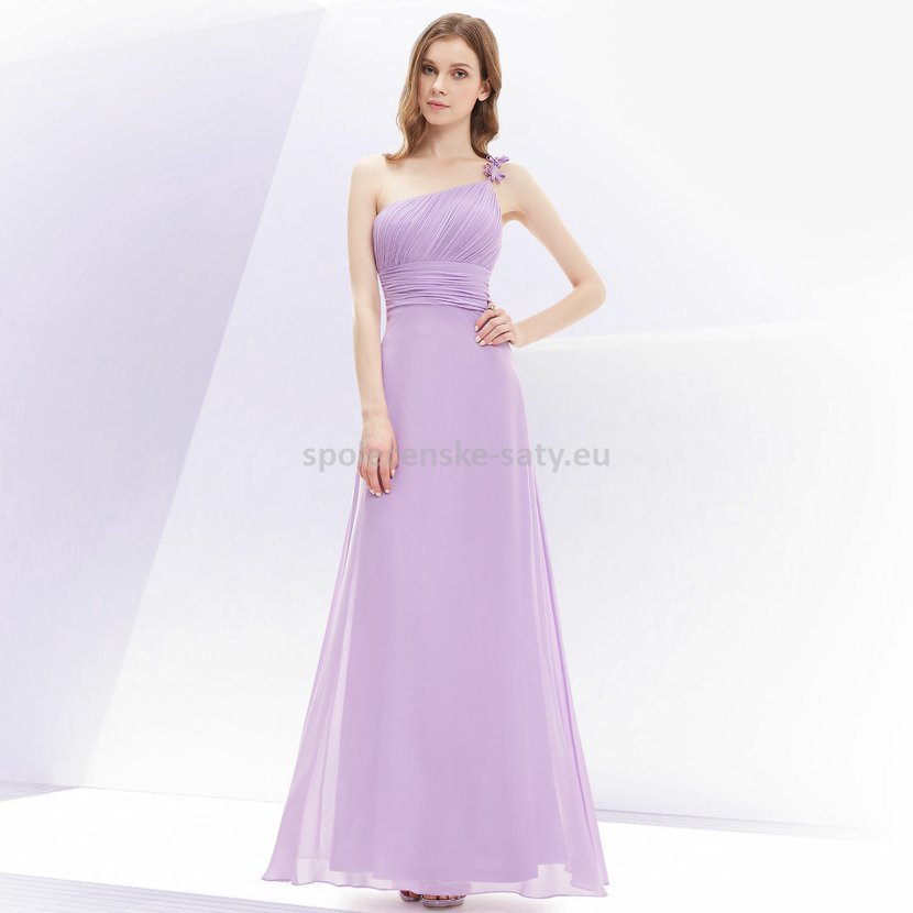 Levandulové dlouhé plesové šaty na jedno rameno jednoduché levné 36 ... d2d9a627d1