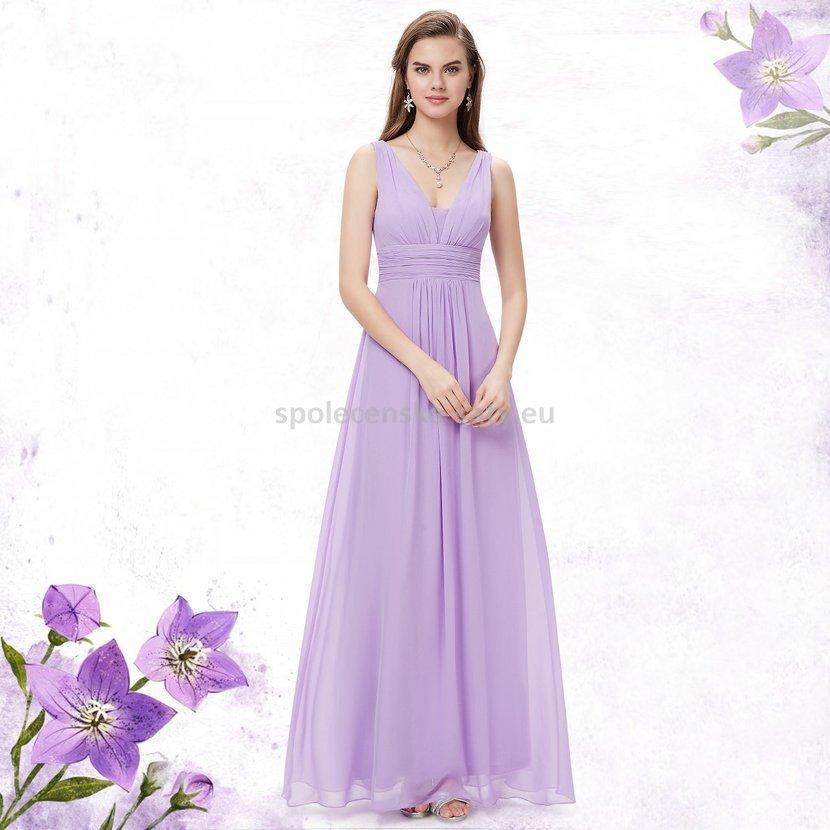 Levandulové dlouhé šaty na hrubší ramínka na svatbu i pro těhulky 38 ... c289b143855