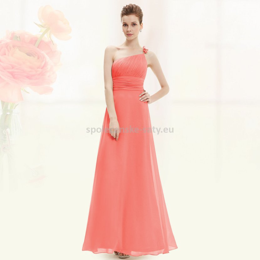 a0a24def1938 Lososové dlouhé plesové šaty na jedno rameno jednoduché levné 36 S ...