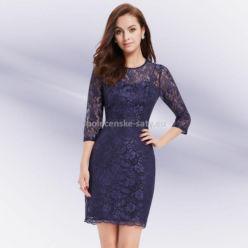 Modré krátké krajkové šaty s rukávem pro svatební maminku 36 S ... 01f87d1541