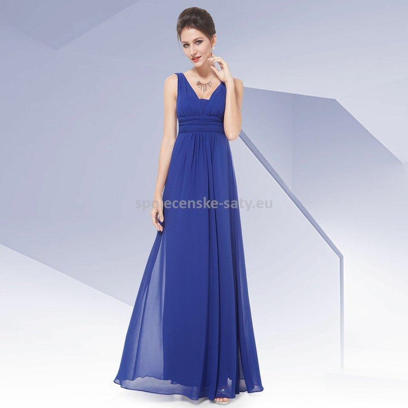 b050f78c850 Modré dlouhé šaty na hrubší ramínka na svatbu i pro těhulky 42 ...