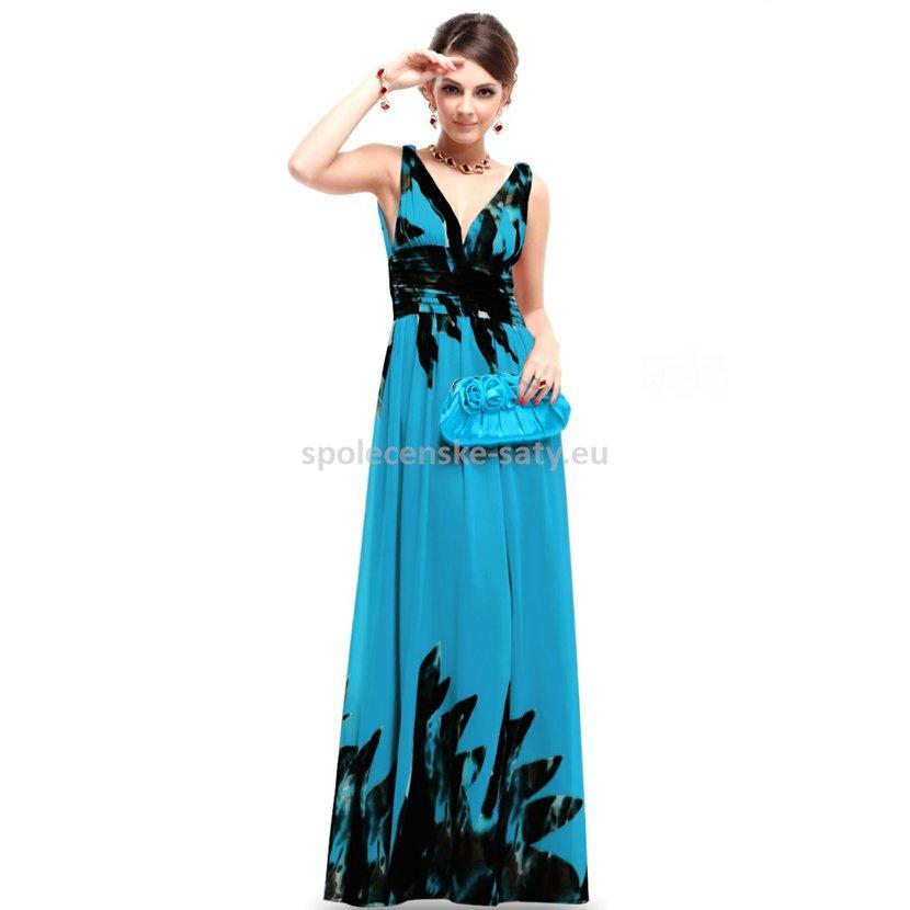 d7e9e041e74 Modré dlouhé společenské šaty na svatbu dovolenou se vzorem 36 S ...