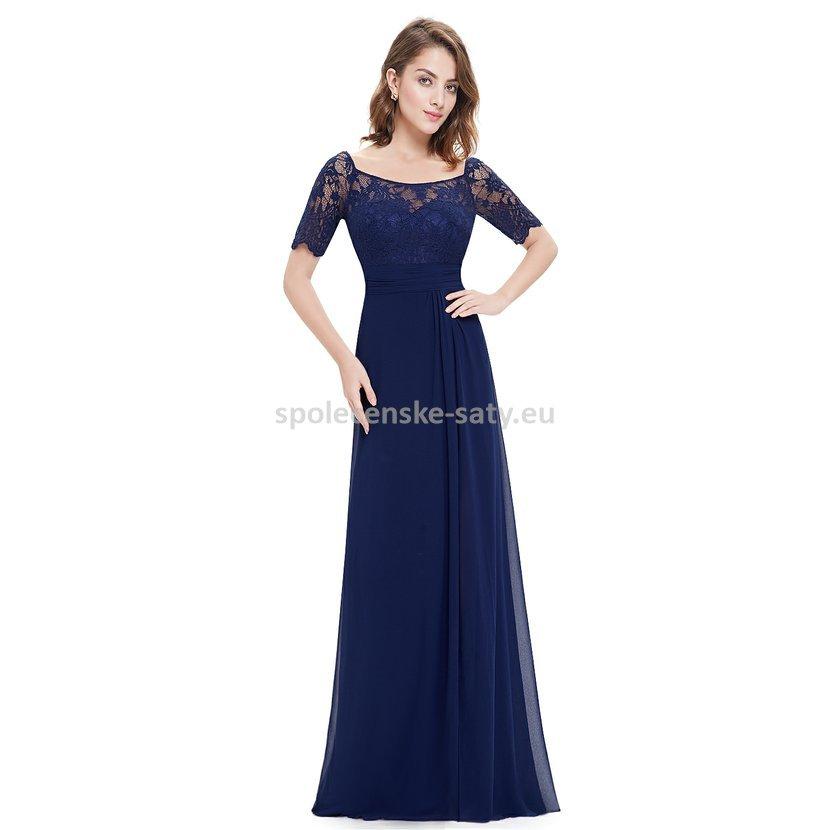 bd4abd158d8d Modré dlouhé společenské šaty s rukávem pro plnoštíhlé 34-36 ...