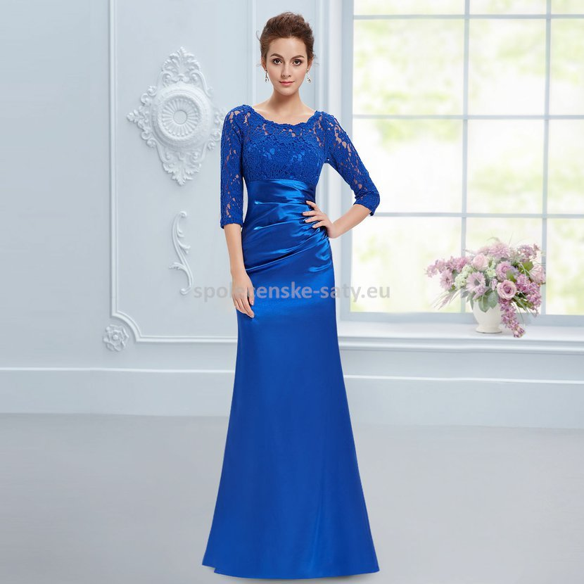 edae7dc91fc Modré dlouhé pouzdrové šaty s 3 4 krajkovým rukávem elegantní 36 s ...