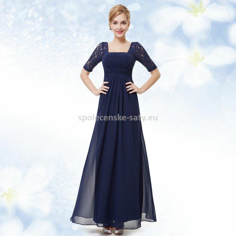 Tmavě modré dlouhé šifonové šaty s krajkovým rukávem elegantní šaty ... 085aaa2ad49