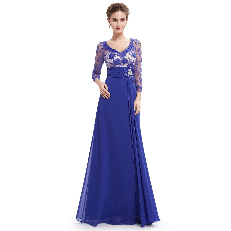 65dfd6e3eab Modré dlouhé společenské šaty s rukávem na vysoké pro svatební matky 40 L