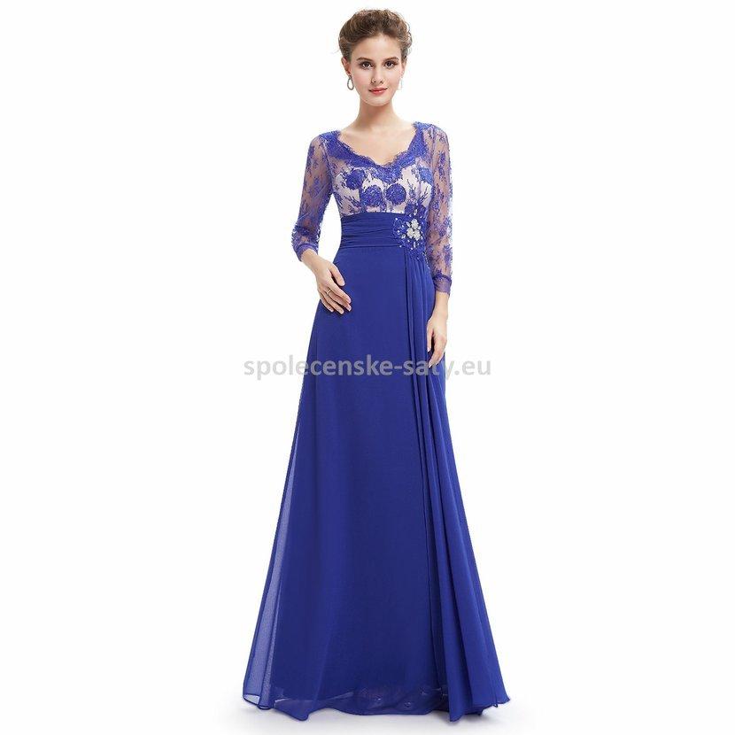 Modré dlouhé společenské šaty s rukávem na vysoké pro svatební matky 36 S 15ae9d7a746