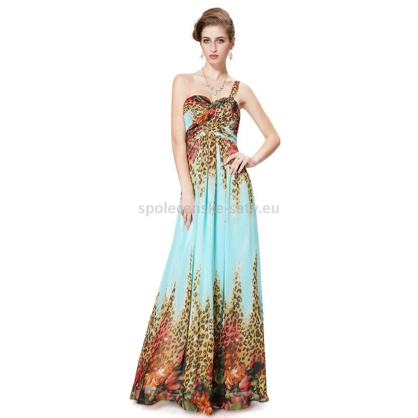 fb562f5791f Tyrkysové dlouhé letní šaty se zvířecím vzorem 34 XS