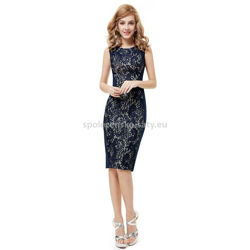 53a329e0e778 Modré krátké šaty koktejlky s krajkou hrubší ramínka 34 XS ...