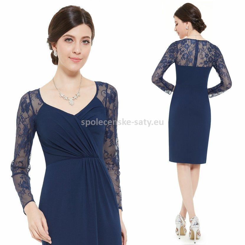 83c5681469eb Tmavě modré krátké šaty s rukávem na svatbu host matka 34 XS