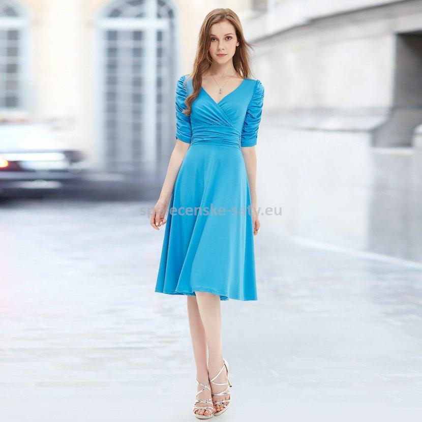 26886c934e0 Modré nebeské krátké společenské šaty koktejlky s rukávem na svatbu 42 XL