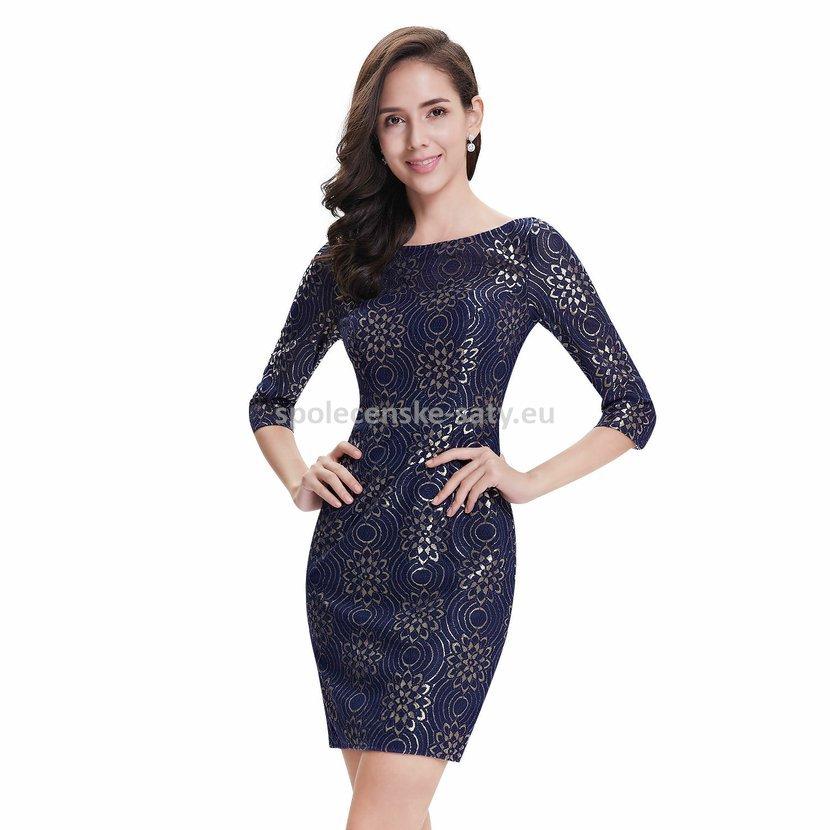 25023bdcc37e Modré krátké společenské šaty koktejlky s rukávem 42 XL ...