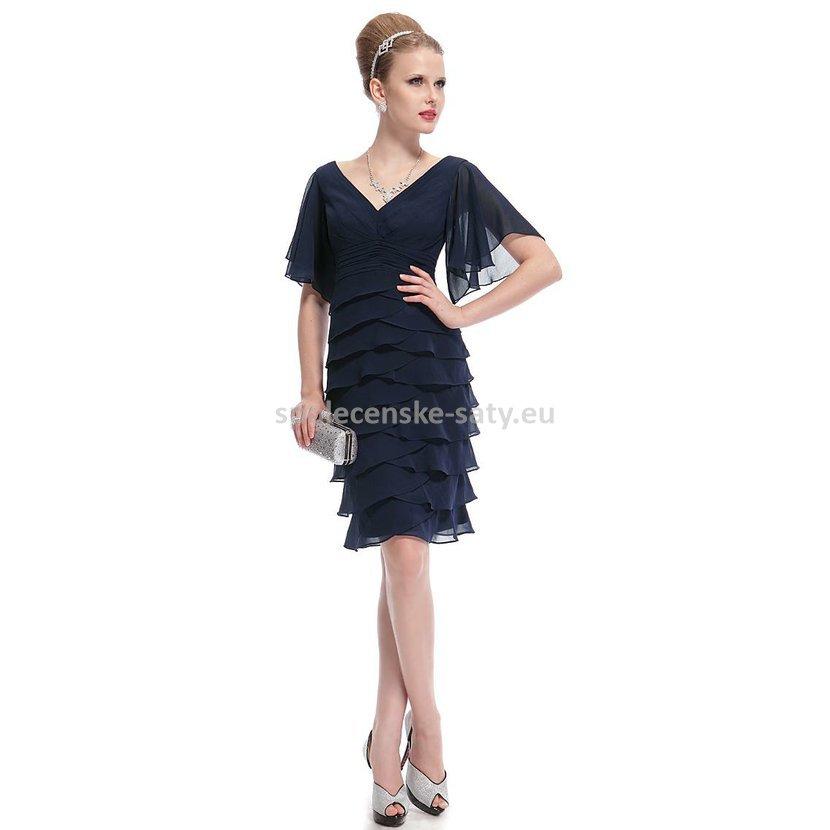 Modré krátké koktejlové šaty s rukávem na svatbu pro matky na ples 34 XS 42399cdd21