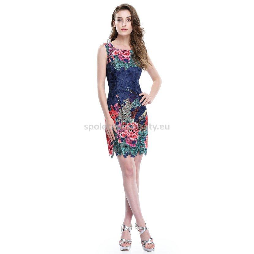 58fbb2dec13 Modré krátké šaty krajkové pouzdrové se vzorem pro plnoštíhlé 40-42 ...