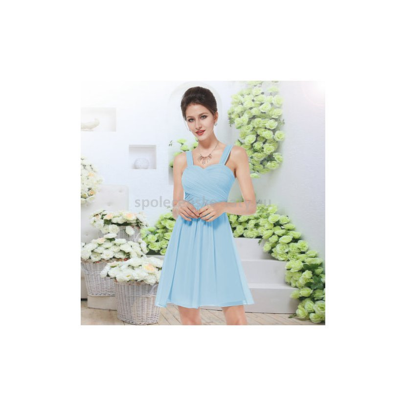 Modré světlé krátké společenské šaty na svatbu koktejlky 44 XXL ... 912773f3ed4