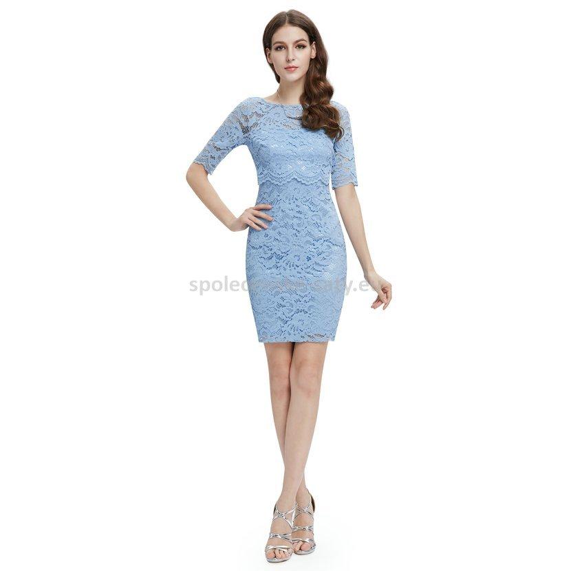 401585aeb681 Modré světlé krátké krajkové šaty koktejlky s rukávem 34 XS ...