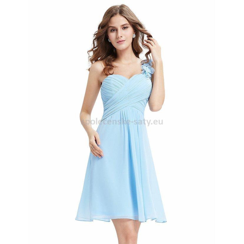 3bd878ec75e8 Modré blankytné krátké společenské šaty koktejlky na jedno rameno 38 ...
