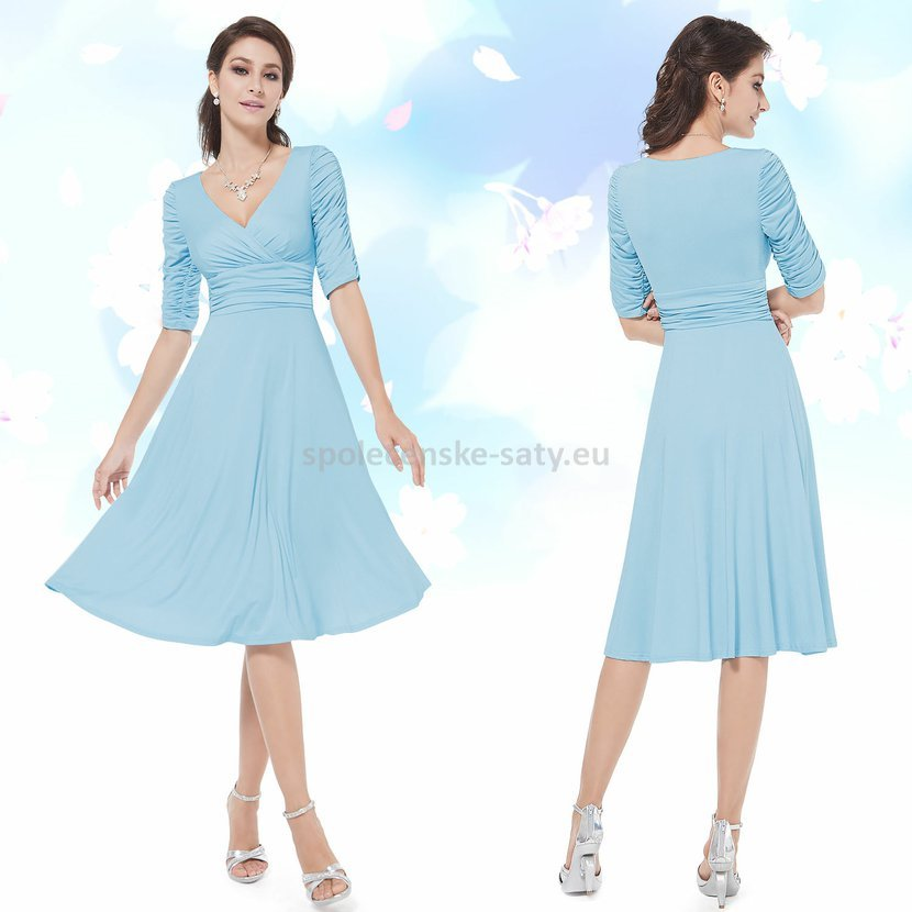 Modré světlé krátké společenské šaty koktejlky s rukávem na svatbu 44 XXL 0c2cedb624