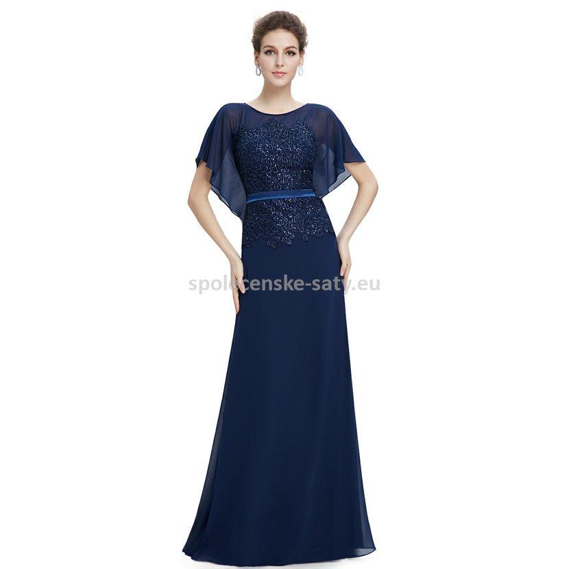 Modré tmavě dlouhé luxusní večerní šaty s rukávem pro matky 36 S ... 257c61a974d