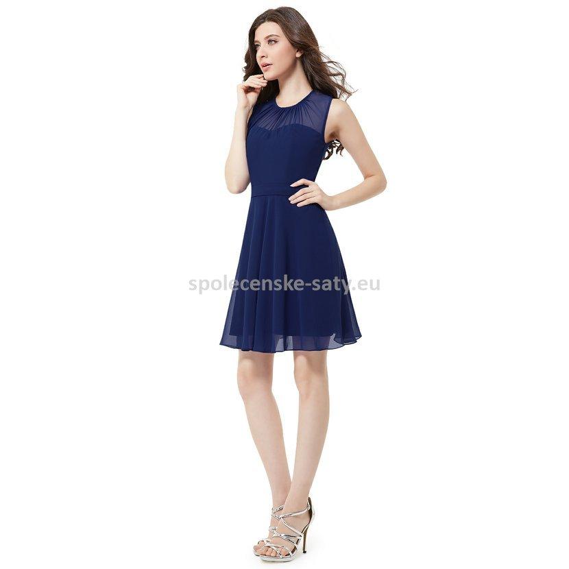 Modré krátké společenské šaty na svatbu do divadla tanečních 40 L ... 70d957232a