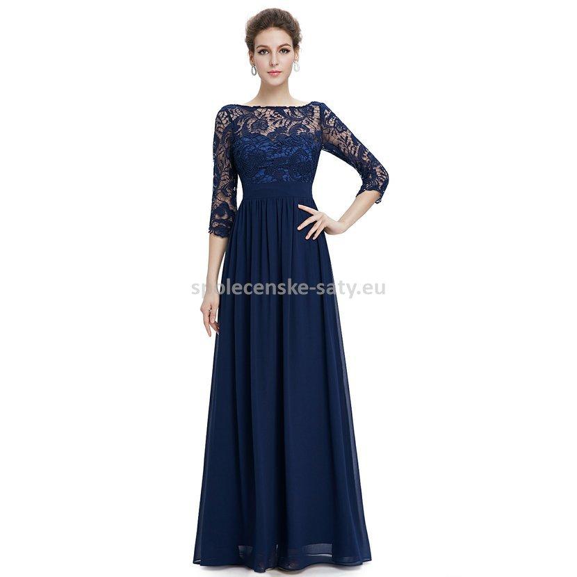 d96f40ef61d Modré tmavé dlouhé společenské šaty s krajkovým rukávem 34-36 ...