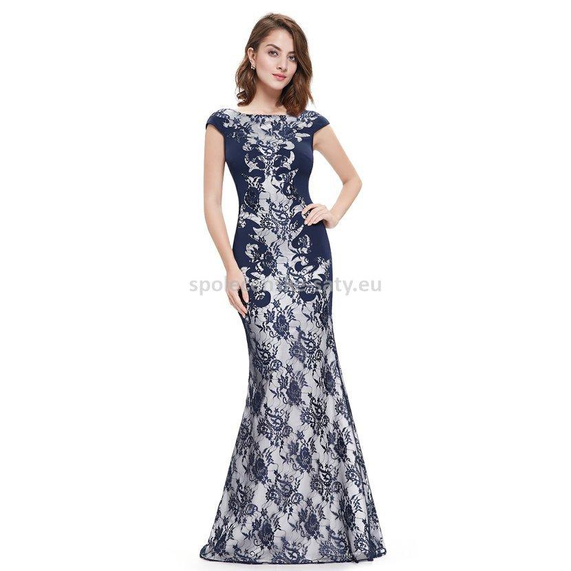 Modré tmavé dlouhé luxusní šaty s rukávkem na svatbu ples do opery 36 S 703d7be829
