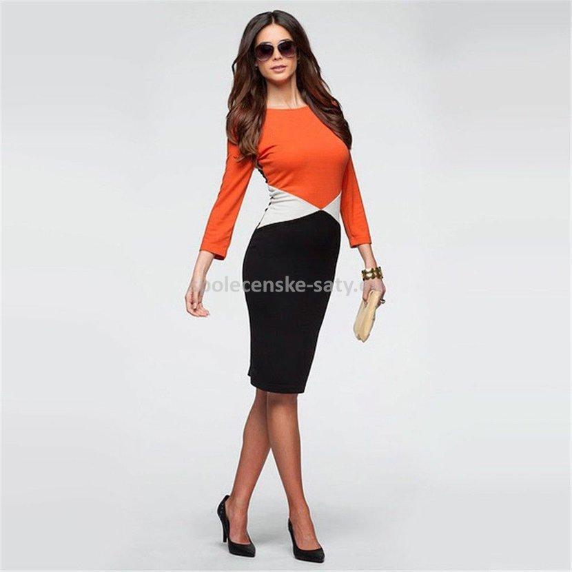 f49a6bb1405a Oranžové černé krátké pouzdrové šaty s rukávem 42 XL
