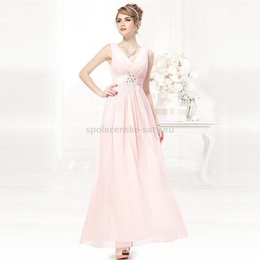 Růžové dlouhé svatební šaty společenské hrubší ramínka 42 XL ... fe0038c7a8