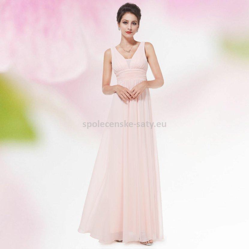Růžové dlouhé šifonové šaty hrubší ramínka na svatbu či ples i pro ... 2c58192bea