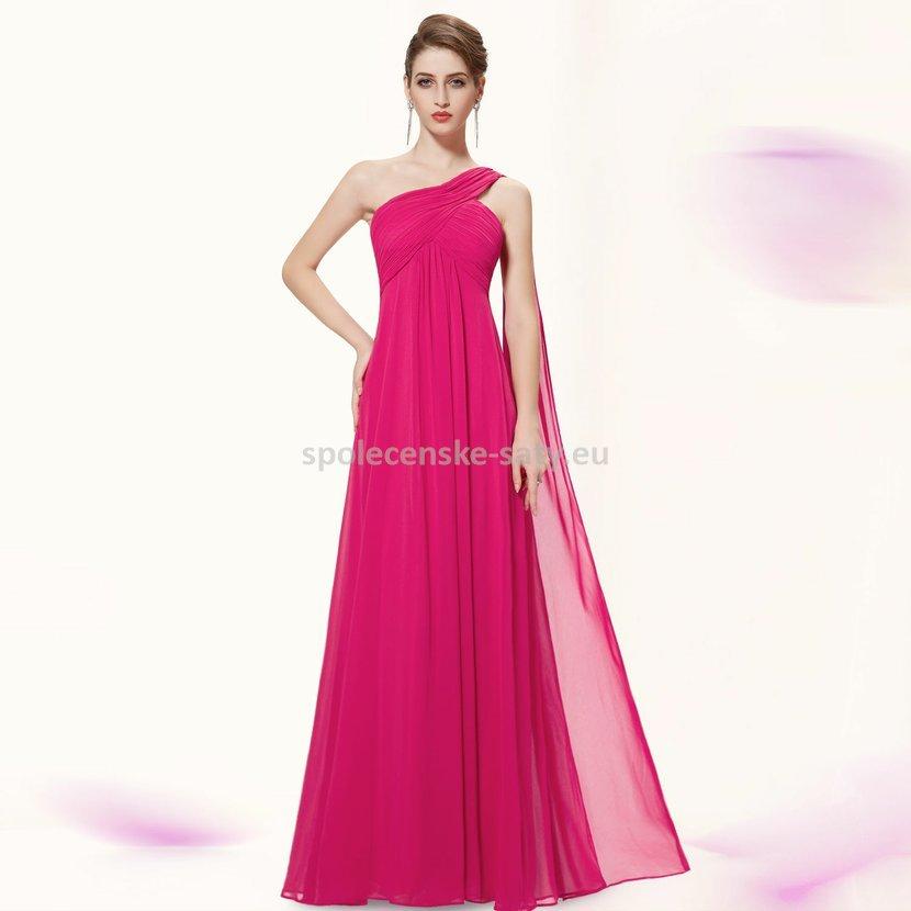 Růžové dlouhé společenské šaty na jedno rameno empírové i pro těhotné 40 L ffa1c1ac5ba