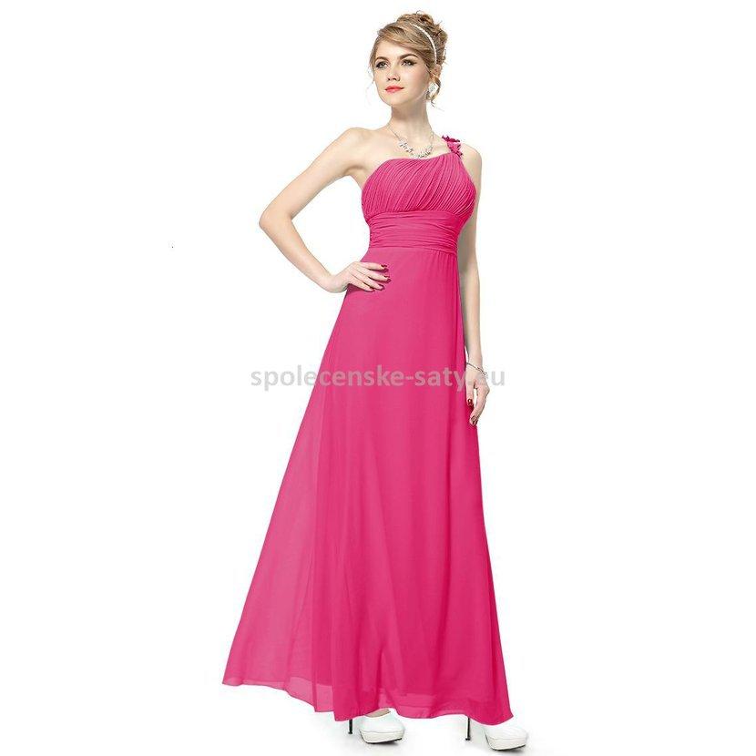 4fb328635ee Růžové dlouhé plesové šaty na jedno rameno jednoduché levné 36 S ...