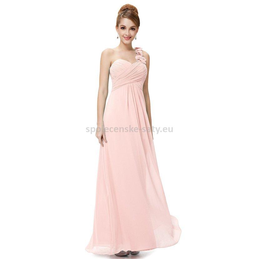 bc5dee3d936 Růžové dlouhé společenské šaty na jedno rameno i pro těhotné 44 ...