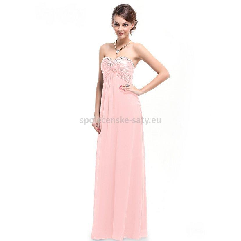 Růžové dlouhé společenské svatební šaty bez ramínek šifonové 38 M ... c0770bbb95