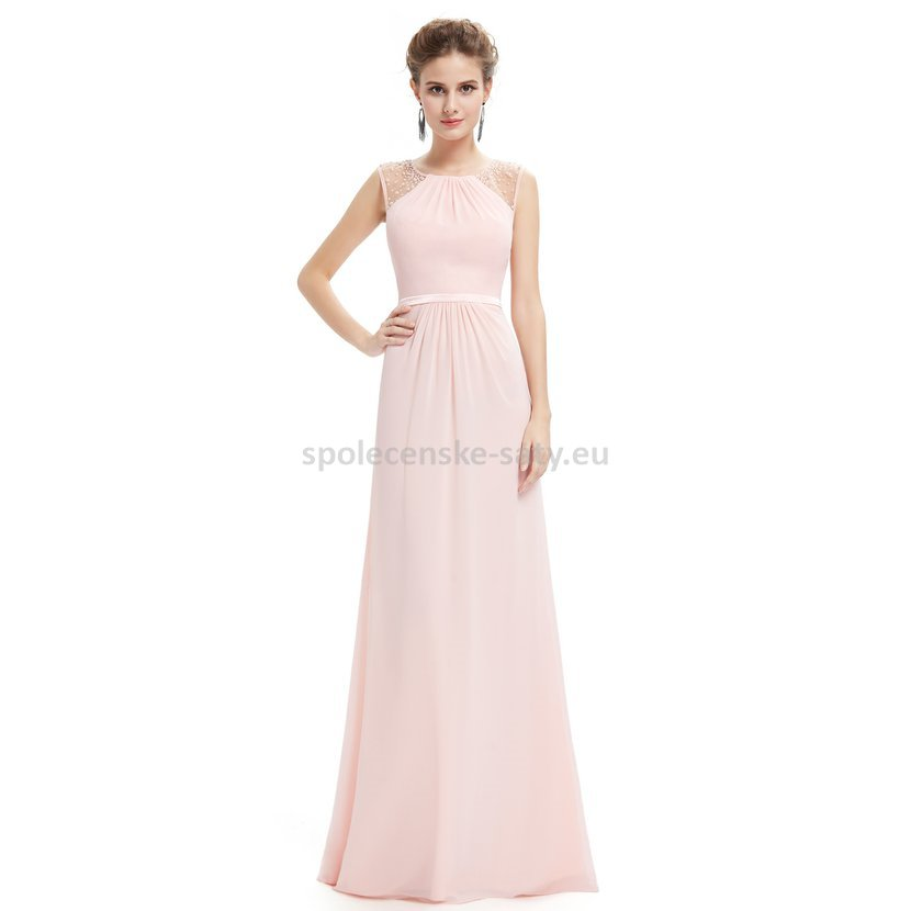 ce1ed12c12c Růžové dlouhé společenské svatební šaty na hrubší ramínka 38 M ...