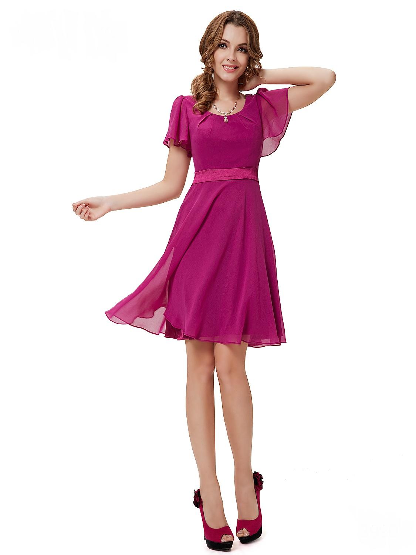 Růžové krátké společenské šaty koktejlky s rukávem 36 S c60da0aa53