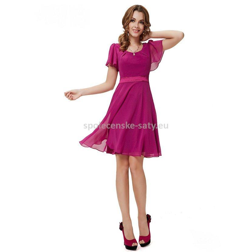 Růžové krátké společenské šaty koktejlky s rukávem 44 XXL 569cd00103